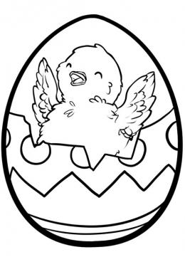 Раскраска Пасхальное яйцо с цыпленком, скачать и ...