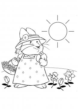 Раскраска Руби собирает цветы на полянке, скачать и ...