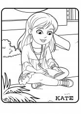 Раскраска Кейт с тетрадкой