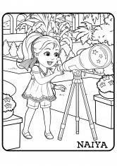 Раскраска Найя с телескопом