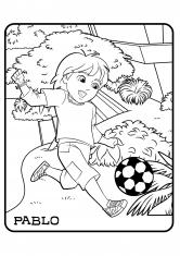 Раскраска Пабло с мячом