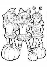 Раскраска Даша и подружки в костюмах