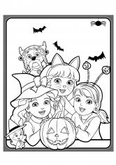 Раскраска Даша Эмма и Алана на празднике Хэллоуин