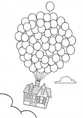 Раскраска Дом из мультика вверх