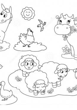 раскраска домашние животные на лугу скачать и распечатать