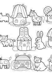 Раскраска Домики для животных