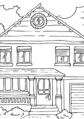 Раскраска Дом с гаражом