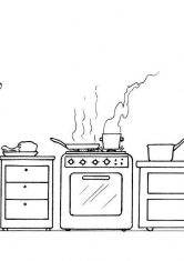 Раскраска На кухне готовится еда