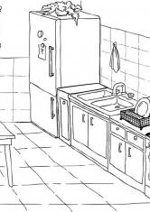 Раскраска Кухня с большим столом