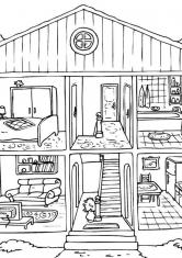 Раскраска Двухэтажный дом с комнатами
