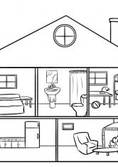 Раскраска Комнаты в доме