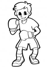 Раскраска Юный боксер