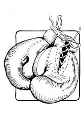 Раскраска Боксерские перчатки на шнуровке