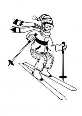 Раскраска Горные лыжи