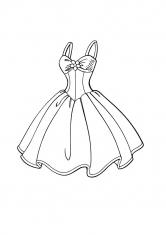 Раскраска Короткое пышное платье на лямках