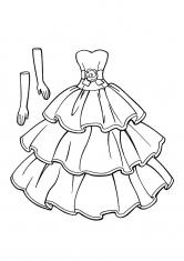 Раскраска Платье для невесты с воланами