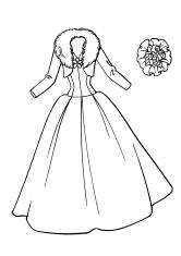 Раскраска Платье невесты с мехом