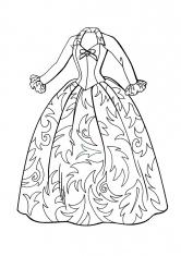 Раскраска Платье с корсетом и пышной юбкой