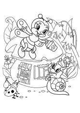 Раскраска Дом для улитки, пчелки и божьей коровки