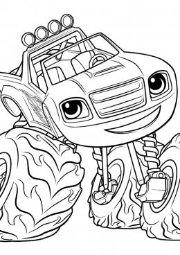 Раскраска Машина с большими колесами Вспыш, скачать и ...