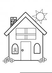 Раскраска Дом с цветком на окне