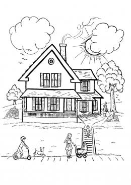 Раскраска Мой дом, скачать и распечатать раскраску раздела ...