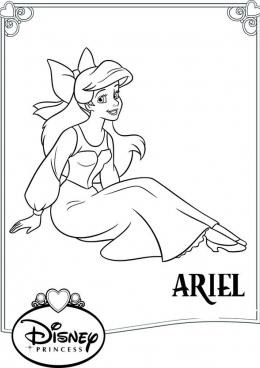 Раскраска Ариель в простом платье, скачать и распечатать ...