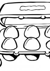 Раскраска Яйца в лотке
