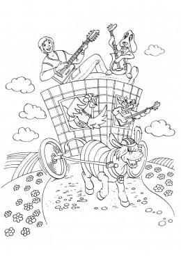 Распечатать раскраску бременские музыканты