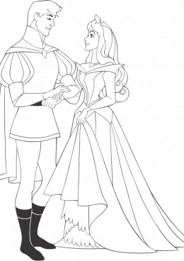 Раскраска принц и принцесса 24
