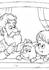 Раскраска дедушка с внуками