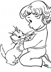 Раскраска Девочка и котенок