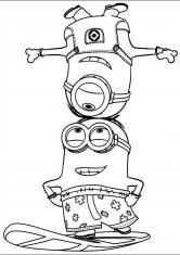 Раскраска Миньоны акробаты
