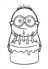 Раскраска Миньон с тортом