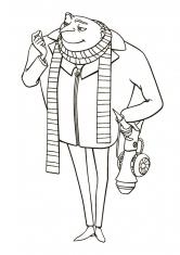 Раскраска Грю в шарфе с бластером