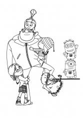 Раскраска Семья Грю и собака