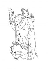 Раскраска Грю, Люси и миьоны