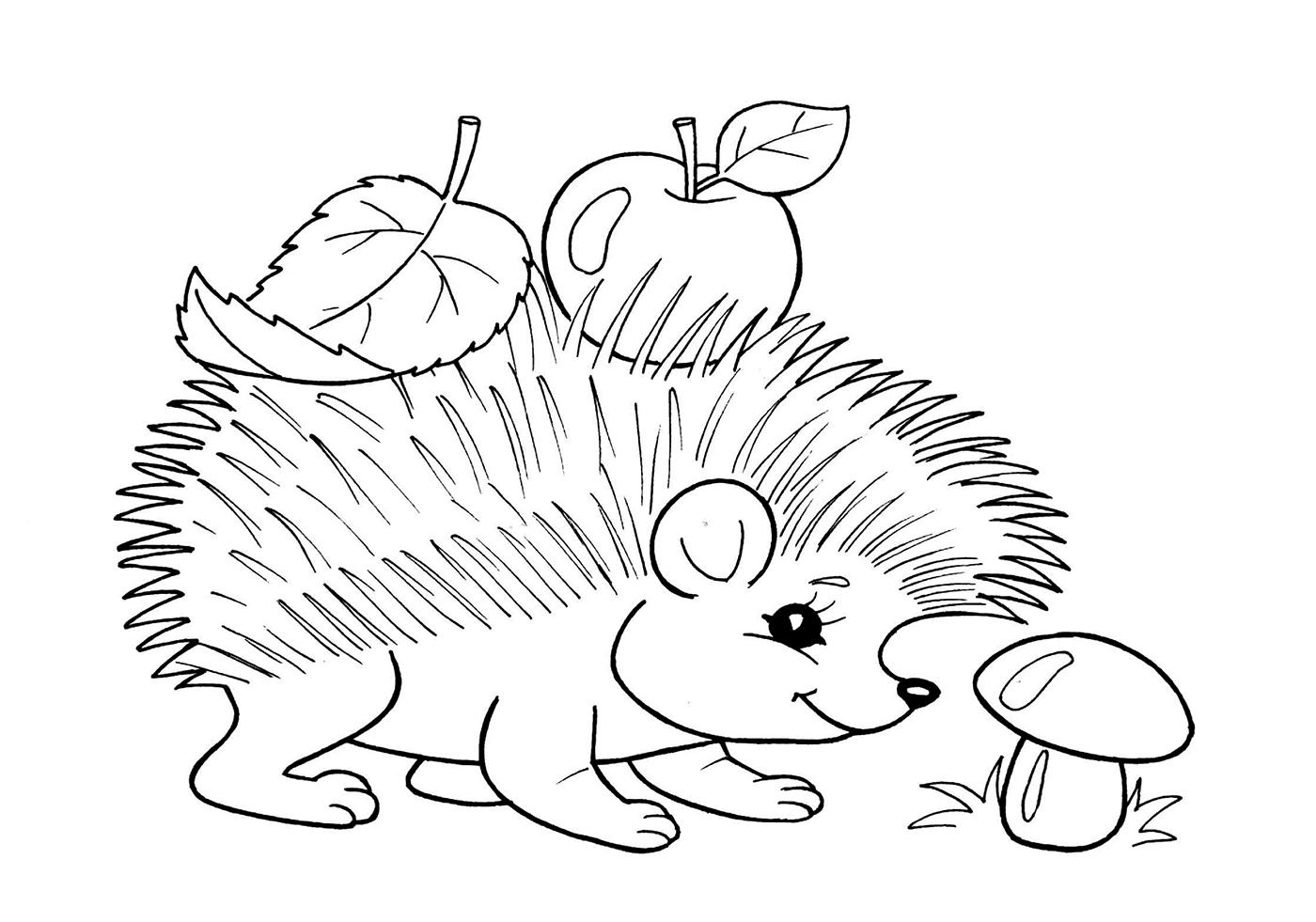 Ёжик с грибочками раскраска