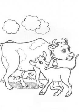 Раскраска Корова и теленок, скачать и распечатать ...