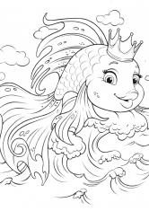 Корона для золотой рыбки раскраска