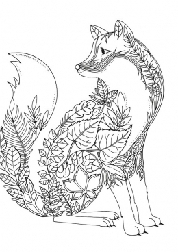 раскраска лиса с узором скачать и распечатать раскраску