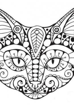 раскраска портрет кошки с узором скачать и распечатать