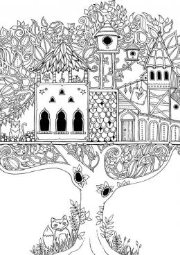 Раскраска Дерево с домиками на ветвях, скачать и ...