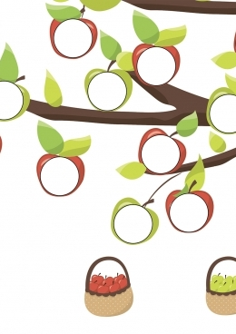 Раскраска Красные и зеленые яблоки на дереве, скачать и ...