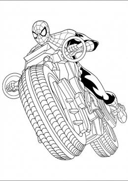 Раскраска Человек-паук на мотоцикле, скачать и распечатать ...