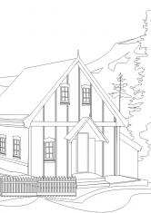 Раскраска Дом в горах