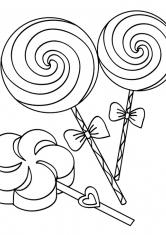 Раскраска Три конфеты на палочке с бантиком