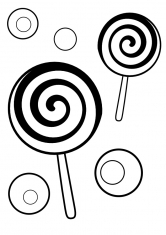Раскраска Две конфеты на палочках