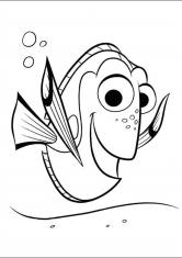 Раскраска Синяя рыбка Дори