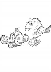 Раскраска Дори и две рыбки